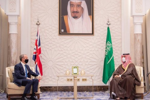 Saudi Crown Prince Mohammed Bin Salman met with British Foreign Secretary Dominic Raab in the city of Neom, on 7 June, 2021 [@KSAmofaEN/Twitter]