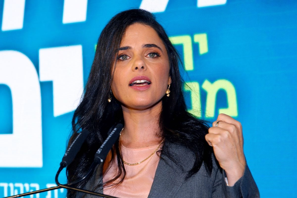 """Israel's Interior Minister and former Israeli Justice Minister Ayelet Shaked attends the launch of the political party """"Yemina"""" on 12 August 2019 in the Israeli city of Ramat Gan. [JACK GUEZ/AFP via Getty Images]"""