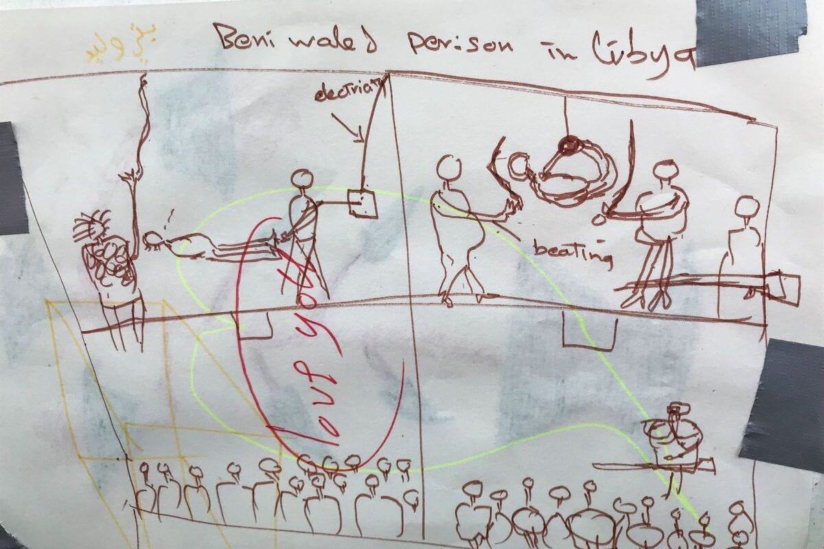 A picture taken on August 17, 2019, onboard the 'Ocean Viking' rescue ship, jointly operated by French NGOs SOS Mediterranee and Medecins sans Frontieres (MSF) in the Mediterranean Sea, shows a drawing of a torture scene in Bani Walid secret prison in northwest Libya made by a rescued migrant called Adam. [ANNE CHAON/AFP via Getty Images]