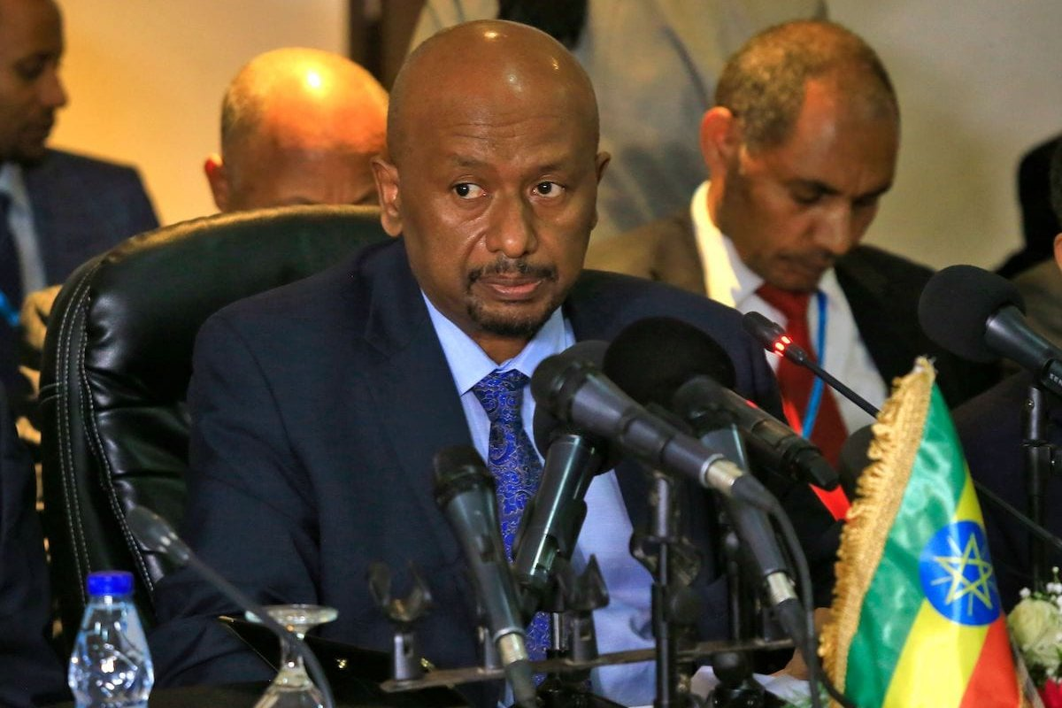 Ethiopian Minister of Water, Irrigation and Electricity Seleshi Bekele takes part in a trilateral meeting to resume negotiations on the Grand Ethiopian Renaissance Dam, in the Sudanese capital Khartoum on 21 December 2019. [ASHRAF SHAZLY/AFP via Getty Images]