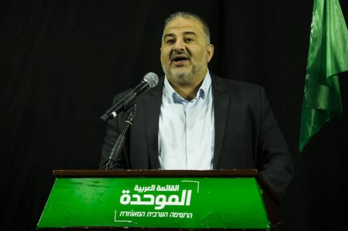 Mansour Abbas the head of the United Arab Party (Ra'am) delivers a speech on April 1, 2021 in Nazareth, Israel. [Amir Levy/Getty Images]