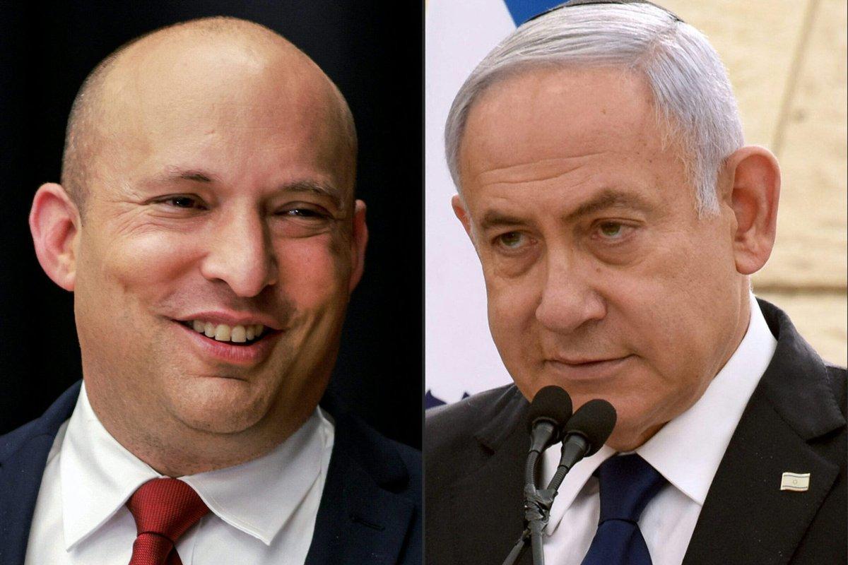 (L to R) Naftali Bennett of the Yamina (Right) and Israeli Prime Minister Benjamin Netanyahu of the Likud party [GIL COHEN-MAGEN,MENAHEM KAHANA,DEBBIE HILL/POOL/AFP via Getty Images]
