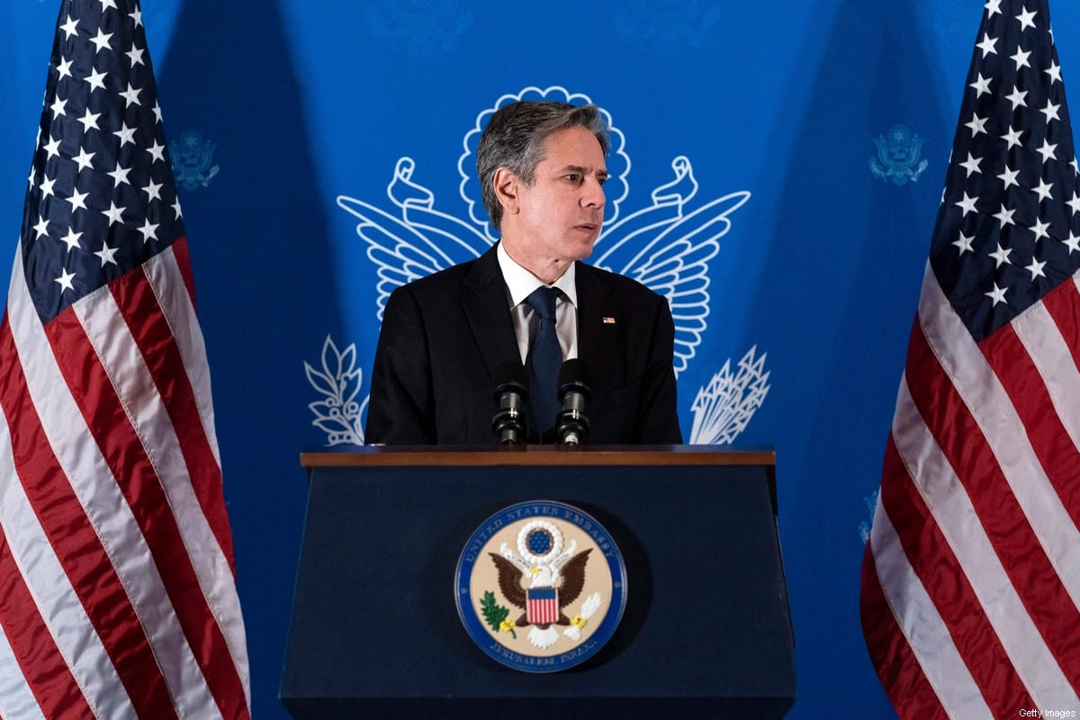 US Secretary of State Antony Blinken speaks during a news conference in Jerusalem, on May 25, 2021 [ALEX BRANDON/POOL/AFP via Getty Images]