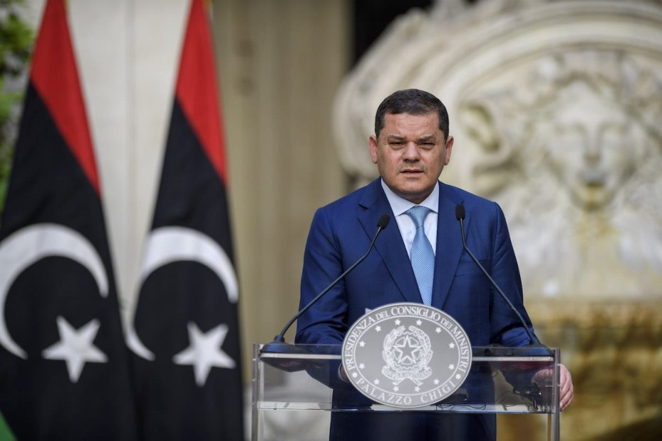 Prime Minister of Libya Abdul Hamid Mohammed Dabaiba or Dbeibeh holds a joint press conference with the Italian Prime Minister Mario Draghi (not in picture) after a meeting at Palazzo Chigi, on May 31, 2021 in Rome, Italy. [Antonio Masiello/Getty Images]
