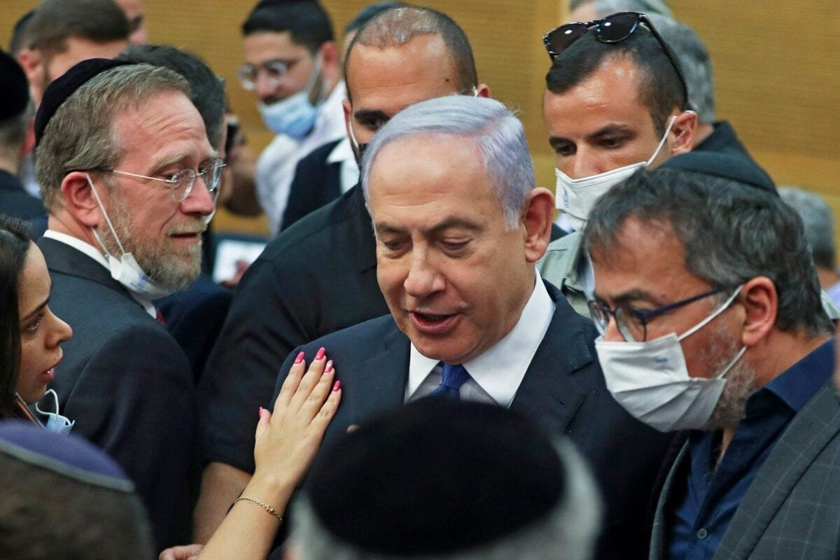 Former Israeli Prime Minister Benjamin Netanyahu attends a special session of the Knesset, in Jerusalem, on June 2, 2021 [RONEN ZVULUN/POOL/AFP via Getty Images]