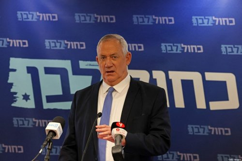 Israeli Defence Minister and leader of Blue and White party Benny Gantz addresses a press conference at his party's office in the Knesset in Jerusalem on June 7, 2021 [Menahem KAHANA / AFP via Getty Images]