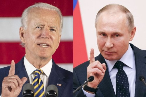The then Democratic presidential candidate Joe Biden (COMBO) in Darby, Pennsylvania, on June 17, 2020 (L), Russian President Vladimir Putin, Moscow on January 31, 2018 [ JIM WATSON,GRIGORY DUKOR/AFP via Getty Images]