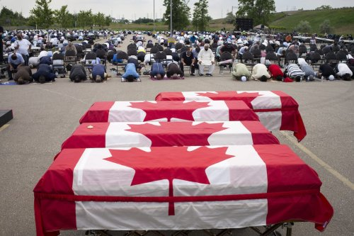 Mourners and supporters gather for a public funeral for members of the Afzaal family at the Islamic Centre of Southwest Ontario on 12 June 2021 in London, Canada. [Ian Willms/Getty Images]