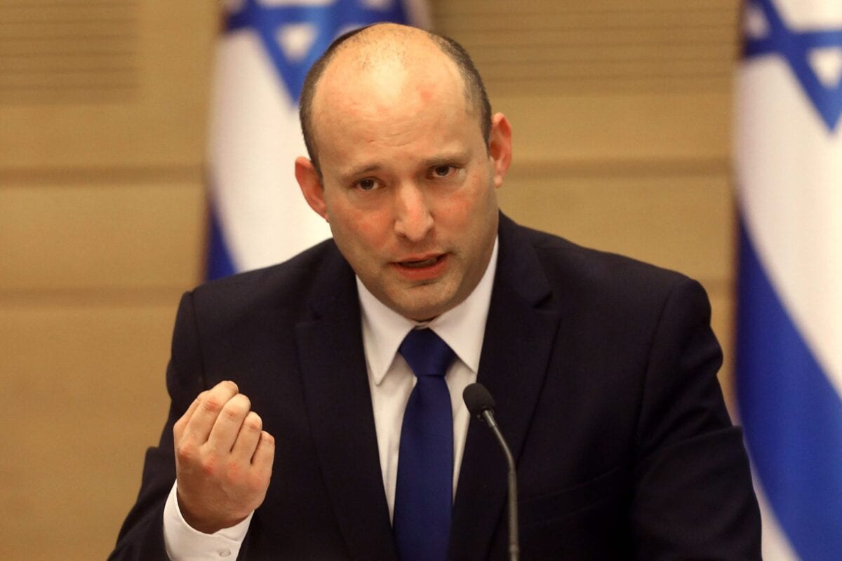 Israel's incoming Prime Minister Naftali Bennett gives an address before the new cabinet at the Knesset in Jerusalem on June 13, 2021 [GIL COHEN-MAGEN/AFP via Getty Images]
