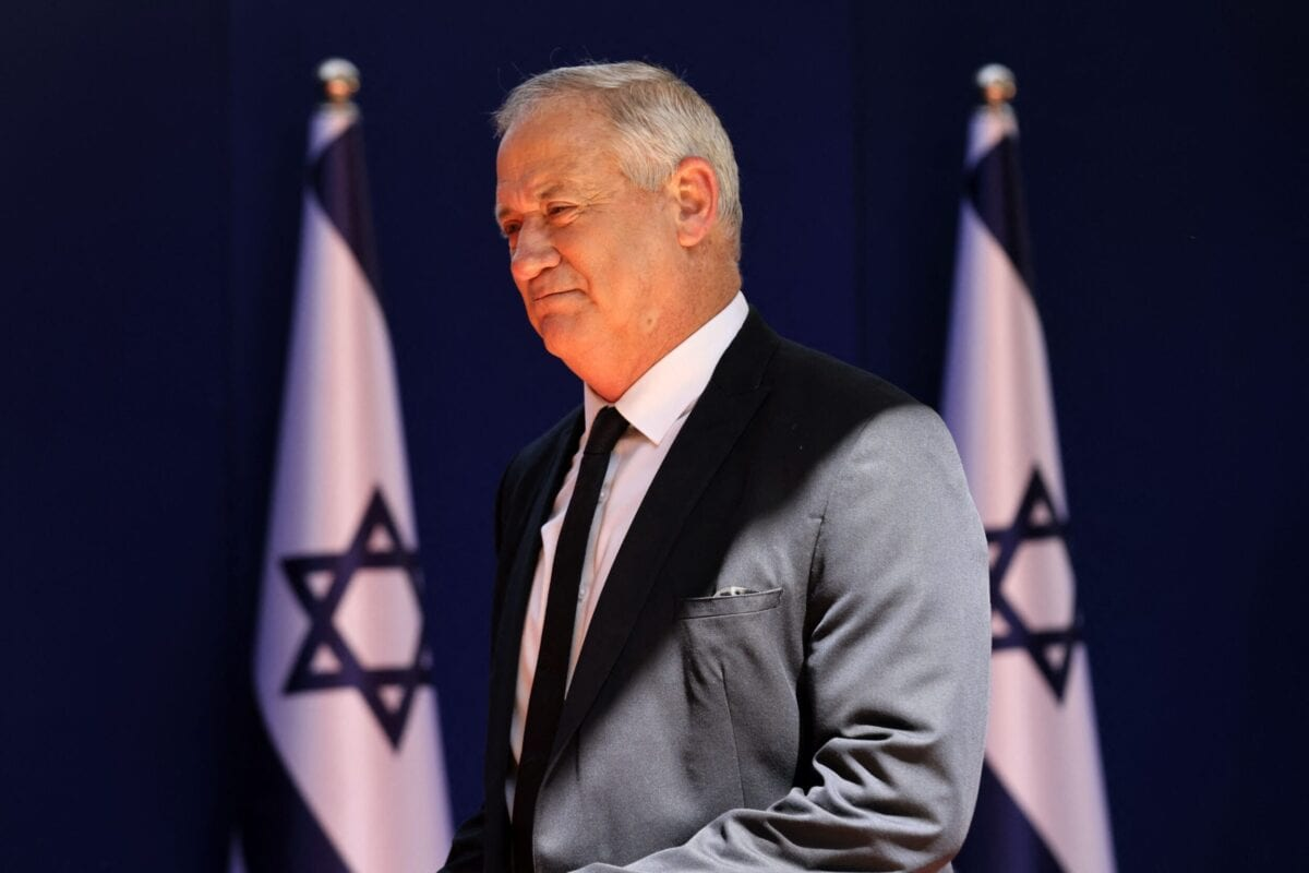 Israeli Minister of Defence Benny Gantz arrives for a photo at the President's residence during a ceremony for the new coalition government in Jerusalem, on June 14, 2021 [EMMANUEL DUNAND/AFP via Getty Images]