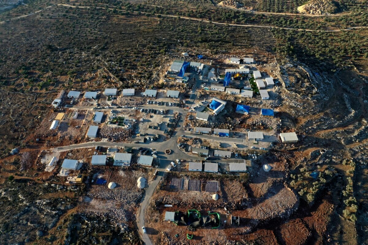 An aerial picture shows the newly-established wildcat outpost of Eviatar near the northern Palestinian city of Nablus in the occupied West Bank, on June 28, 2021 [MENAHEM KAHANA/AFP via Getty Images]
