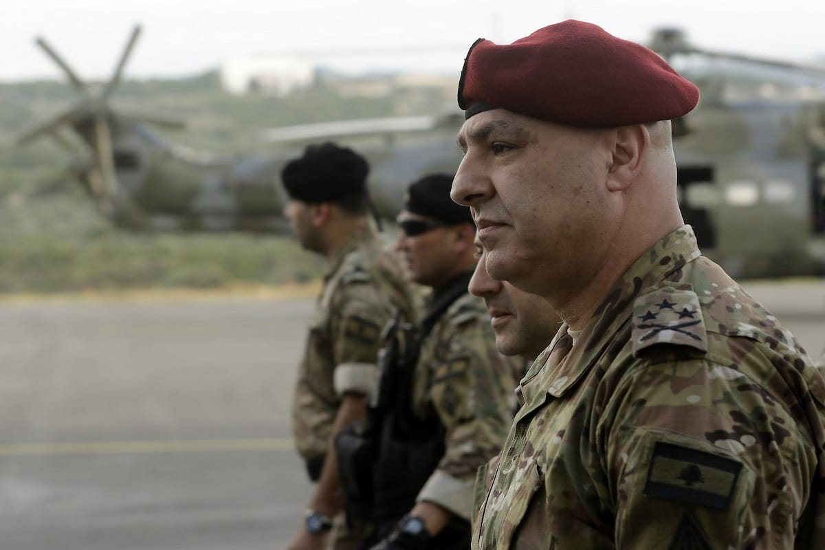 General Joseph Aoun (R), the Lebanese Army Chief of Staff, arrives to attend a handover ceremony organised by the Lebanese Armed Forces of four A-29 Super Tucano aircraft given by the US at Hamat airbase, north of Beirut on 12 June 2018. [JOSEPH EID/AFP via Getty Images]