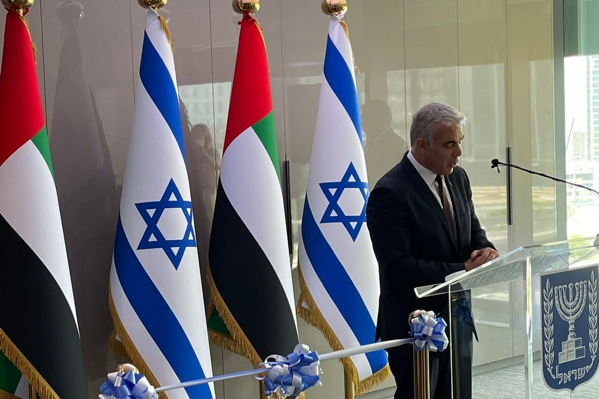 Israeli Foreign Minister Yair Lapid at the opening ceremony of the Israeli embassy in UAE, 30 June 2021 [IsraelMFA/Twitter]