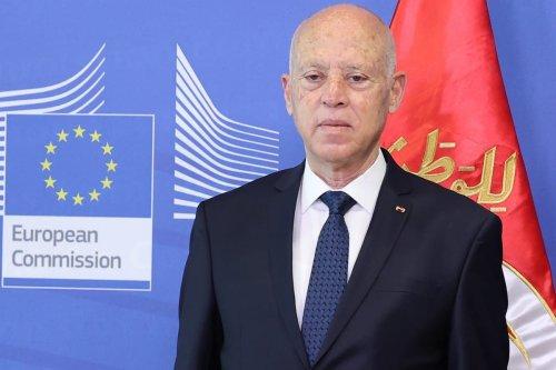 Tunisian President Kais Saied meets EU Commission President Ursula von der Leyen (not seen) in Brussels, Belgium on 4 June 2021. [Dursun Aydemir - Anadolu Agency]