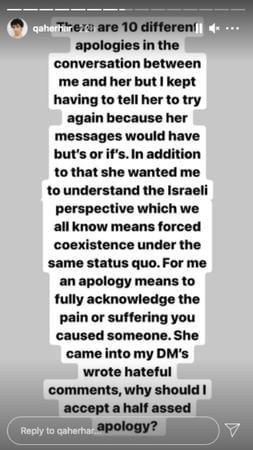 Qaher IG story - apology