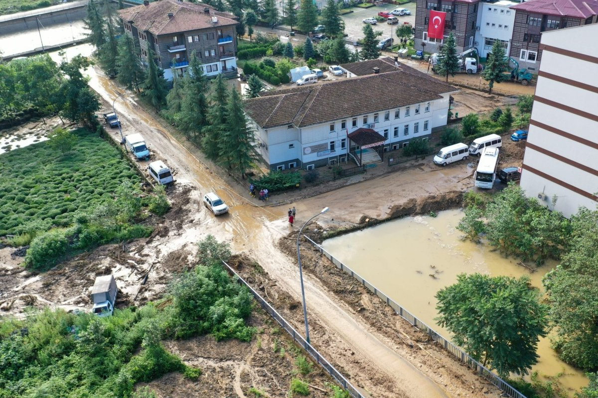 Drone photo shows the damage from above after a flood and landslide due to heavy rain in Guneysu district of Rize, Turkey on July 15, 2021 [Hakan Burak Altunöz/Anadolu Agency]