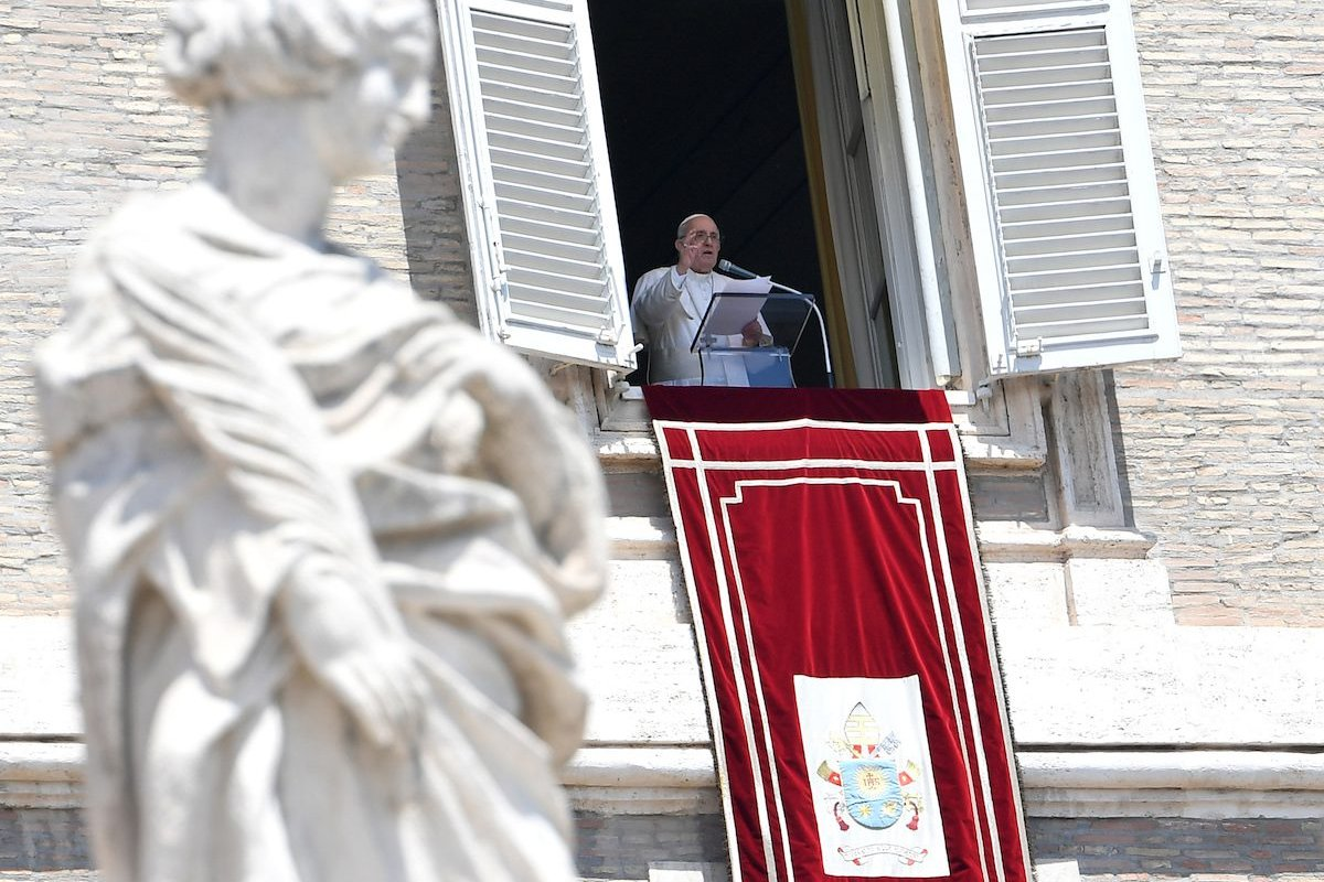 Pope Francis celebrates the Angelus from his studio window overlooking St. Peter's Square, at the Vatican, July 18, 2021. [Isabella Bonotto - Anadolu Agency]