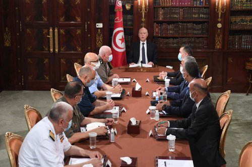 Tunisian President Kais Saied announces to assume executive authority in addition to suspending parliament at the Carthage Palace in Tunis, Tunisia on July 25, 2021. [Tunisian Presidency / Handout - Anadolu Agency]