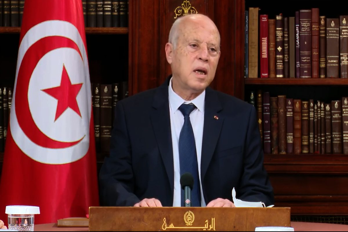 A screen grab captured from a video on July 26, 2021, shows Tunisian President Kais Saied meets union leaders in Tunis, Tunisia [Tunisian Presidential Image/Anadolu Agency]