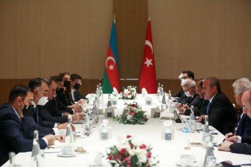 Turkish Parliament Speaker Mustafa Sentop (2nd R) meets Minister of Foreign Affairs of Azerbaijan, Jeyhun Bayramov (3rd L) in Baku, Azerbaijan on July 28, 2021. [Orhan Karslı - Anadolu Agency]