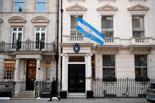 A picture shows the Argentinian flag outside the Argentina embassy in London, UK on 26 November 2020 [DANIEL LEAL-OLIVAS/AFP/Getty Images]