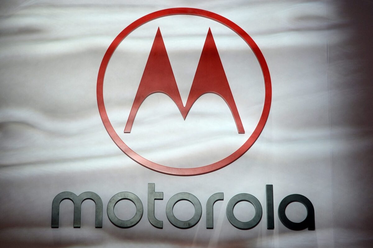 The Motorola sign is displayed at the Mobile World Congress (MWC) in Barcelona on February 27, 2019 [JOSEP LAGO/AFP via Getty Images]