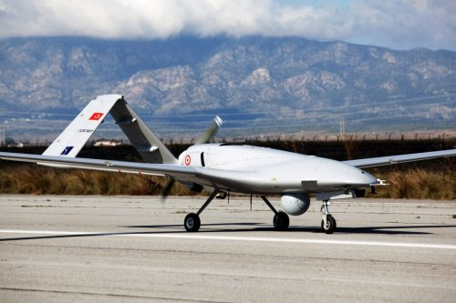 The Turkish-made Bayraktar TB2 drone is pictured on December 16, 2019 at Gecitkale military airbase [BIROL BEBEK/AFP via Getty Images]