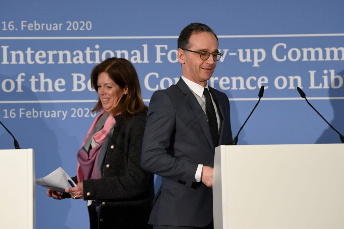 German Foreign Minister Heiko Maas (R) and the Deputy Special Representative of the UN Secretary-General for Political Affairs in Libya on February 16, 2020 [THOMAS KIENZLE/AFP via Getty Images]