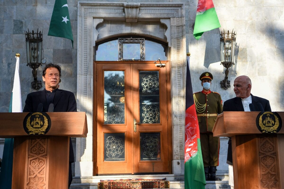 Pakistan's Prime Minister Imran Khan (L) speaks during a joint press conference with Afghan President Ashraf Ghani (R) at the Presidential Palace in Kabul on November 19, 2020 [WAKIL KOHSAR/AFP via Getty Images]