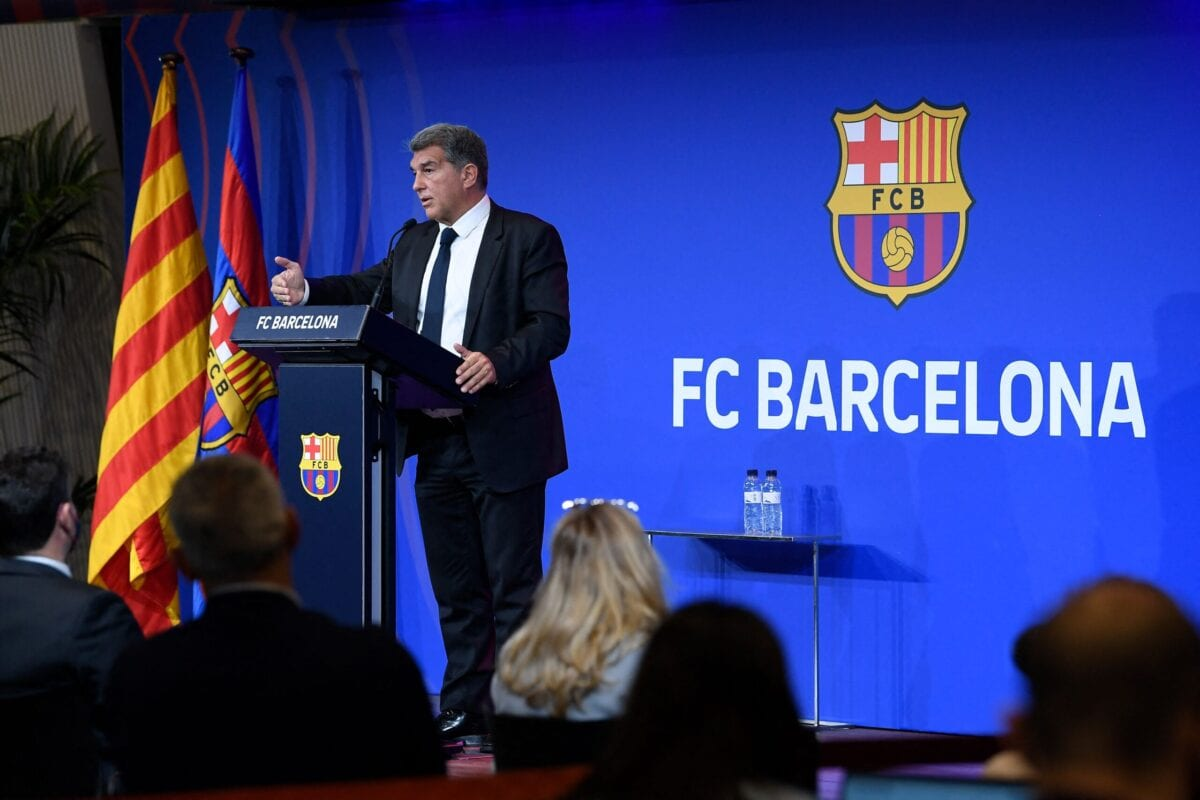 FC Barcelona president Joan Laporta holds a press conference at the Auditorium 1899 of the Camp Nou stadium in Barcelona, on May 28, 2021 [JOSEP LAGO/AFP via Getty Images]