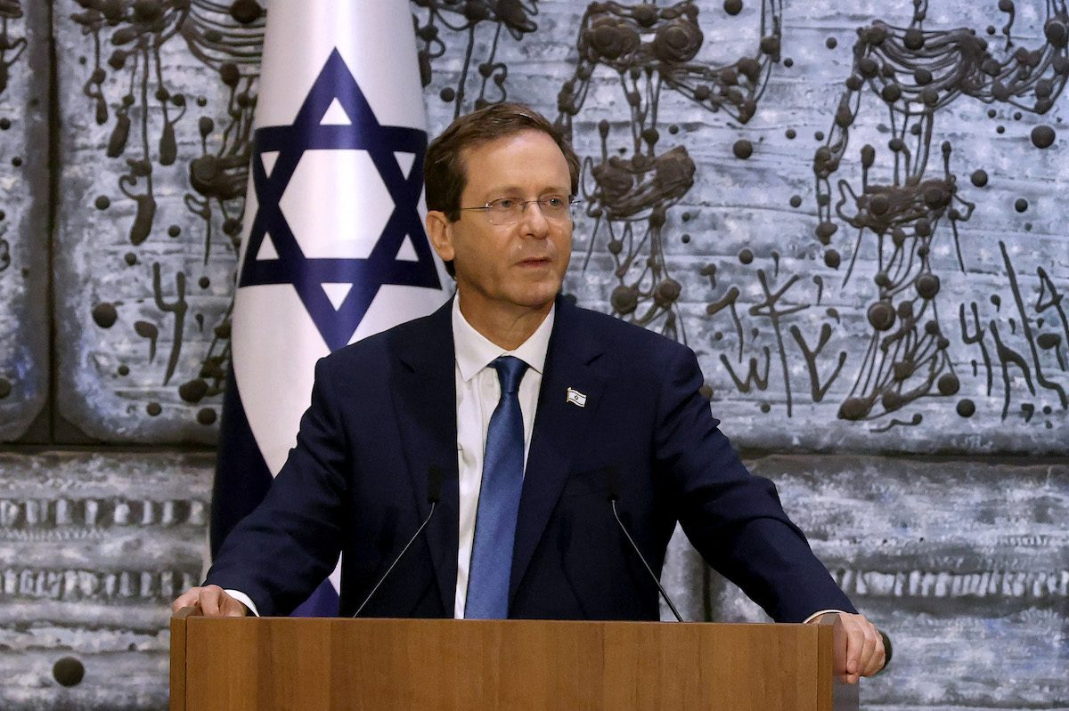 Incoming Israeli president Isaac Herzog looks on during a press conference at the president's residence in Jerusalem, during a handover ceremony, on 7 July 2021. [EMMANUEL DUNAND/AFP via Getty Images]