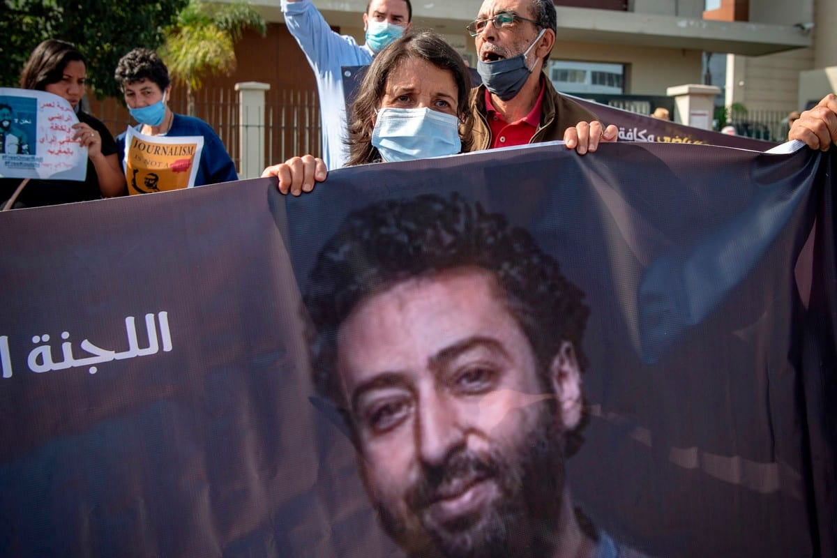 The mother of Omar Radi ,a prominent Moroccan journalist and activist on trial over charges of rape and receiving foreign funds for the purpose of harming 'state security', stands during a demonstration in support of him in Casablanca, Morocco on 22 September 2020 [FADEL SENNA/AFP/Getty Images]