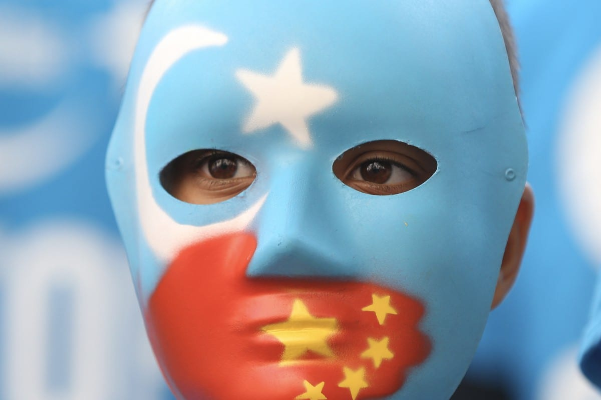 People demonstrate against China's policies towards Uyghur Muslims on July 01, 2021 [Hasan Esen/Anadolu Agency]