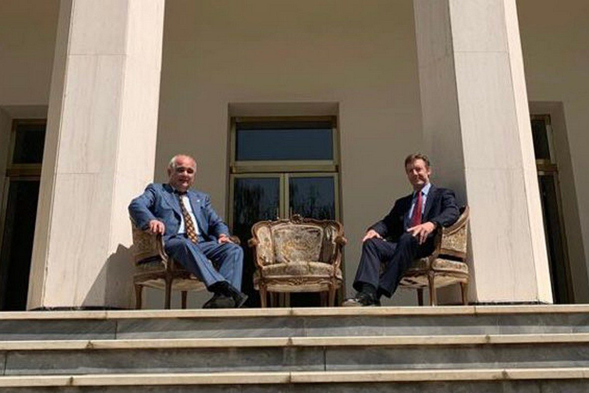Russian envoy Levan Dzhagaryan with the recently appointed British ambassador, Simon Shercliff, outside Russia's diplomatic mission in Tehran, Iran on 11 August 2021 [Russian Embassy, IRI /Twitter]