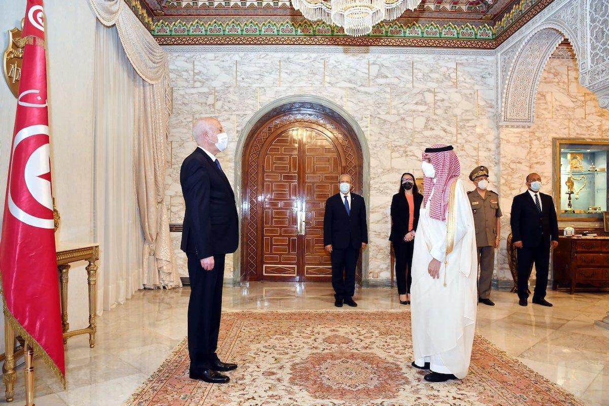Tunisian President Kais Saied (L) receives Saudi Foreign Minister Faisal bin Farhan Al Saud (R) at the Carthage Palace in Tunis, Tunisia on 30 July 2021. [Tunisian Presidency - Anadolu Agency]
