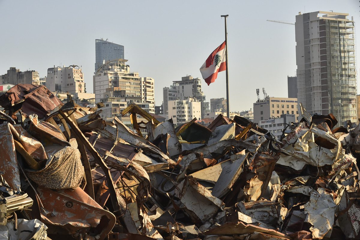 A view of devastated Beirut port, almost one year after the August 2020 massive explosion Lebanon, 3 August 2021 [Hussam Shbaro/Anadolu Agency]