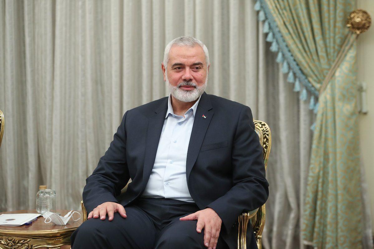 Hamas political chief Ismail Haniyeh in Tehran, Iran on 6 August 2021 [Iranian Presidency / Handout/Anadolu Agency]