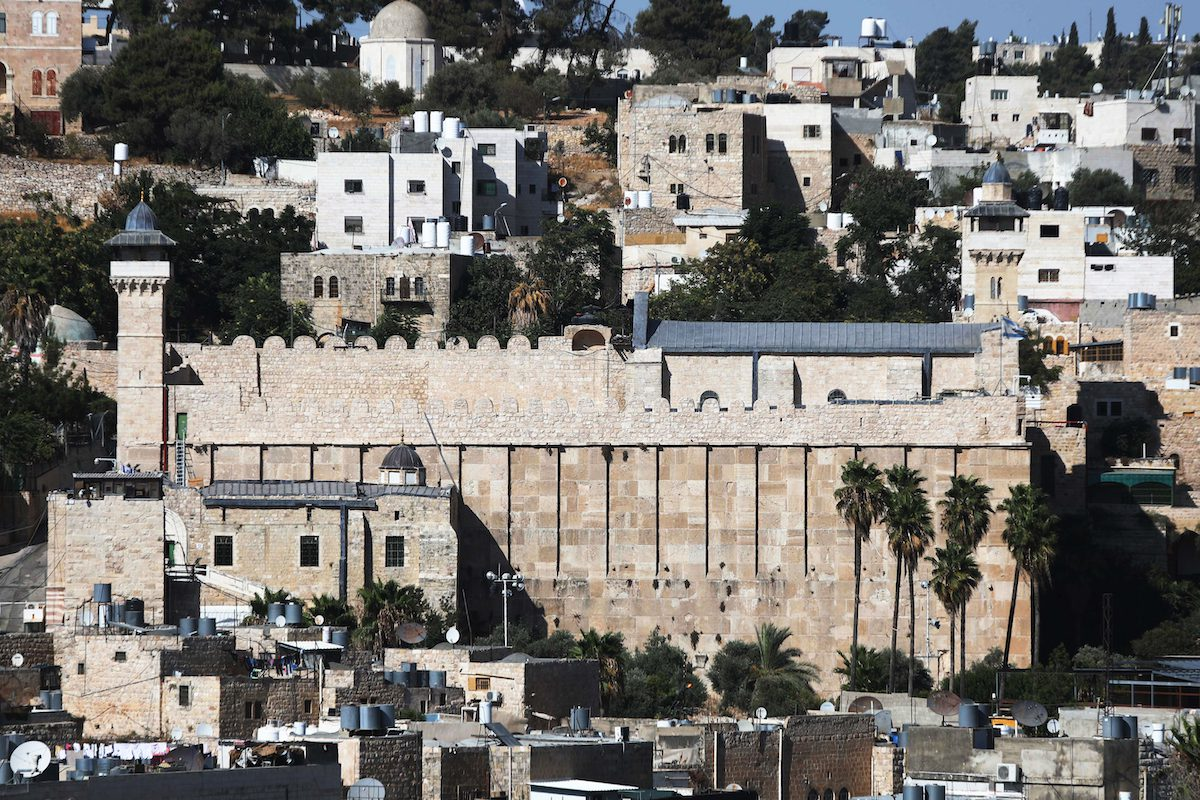 A view of the al-Haram al-Ibrahimi Mosque as Israeli authorities continue construction process of elevator inside in Hebron, West Bank on 10 August 2021. [Mamoun Wazwaz - Anadolu Agency]