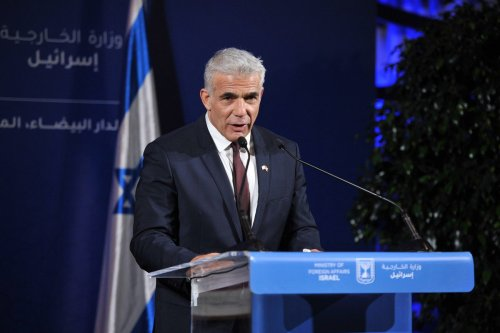 Israeli Foreign Minister Yair Lapid in Casablanca, Morocco on 12 August 2021 [Jalal Morchidi/Anadolu Agency]