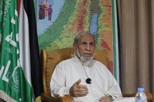 Senior Hamas leader Mahmoud Al-Zahar speaks during an interview in Gaza City, Gaza on 24 August 2021. [Mustafa Hassona/Anadolu Agency]