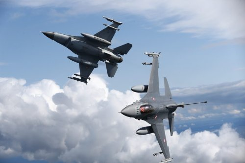 """F-16 fighter jets of the Turkish and Polish Air Forces serve in NATO's """"Air Policing"""" mission at 22nd Air Base Command in Malbork, Poland on August 27, 2021 [Cüneyt Karadağ / Anadolu Agency]"""