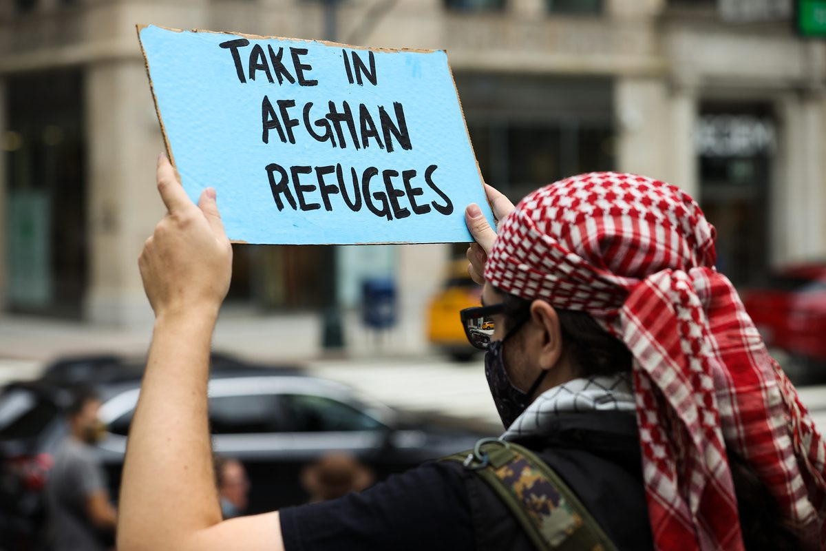 Protest in support of Afghan refugees in New York, United States on 28 August 2021 [Tayfun Coşkun/Anadolu Agency]