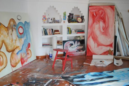 As part of our ongoing collaboration, Mathqaf interviewed the artist Alymamah Rashed. Pictured, her studio in Kuwait, where she creates her own canvases, spend hours painting, carry her daily creative rituals and stack books and objects that inspire her. Photo by Alymamah Rashed