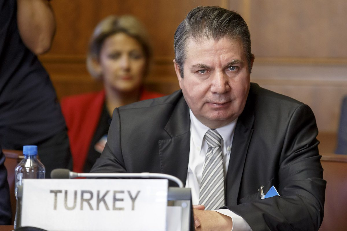 Turkish Foreign Ministry Deputy Sedat Onal attends a meeting on creating a committee to help draft a new constitution for Syria, at the European headquarters of the United Nations in Geneva on September 11, 2018. [SALVATORE DI NOLFI/AFP via Getty Images]