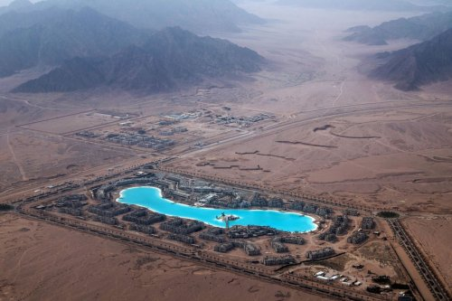 An Aerial view taken on February 26, 2019 shows a luxury hotel complex under construction in the Egyptian Red Sea resort of Sharm el-Sheikh. [KHALED DESOUKI/AFP via Getty Images]