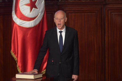 Tunisia's new President Kais Saied takes the oath of office on 23 October 2019 in Tunis after his surprise election victory over champions of the political establishment. [FETHI BELAID/AFP via Getty Images]