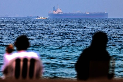 The Israeli-linked Japanese-owned tanker MT Mercer Street is seen off the port of the Gulf Emirate of Fujairah in the United Arab Emirates on 3 August 2021. [KARIM SAHIB/AFP via Getty Images]