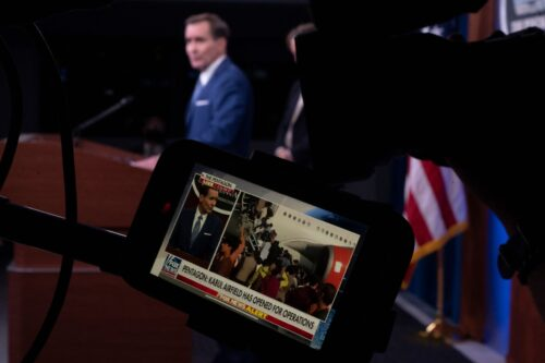Pentagon Spokesman John Kirby speaks during a press briefing on the situation in Afghanistan at the Pentagon in Washington, DC on August 16, 2021 [ANDREW CABALLERO-REYNOLDS/AFP via Getty Images]