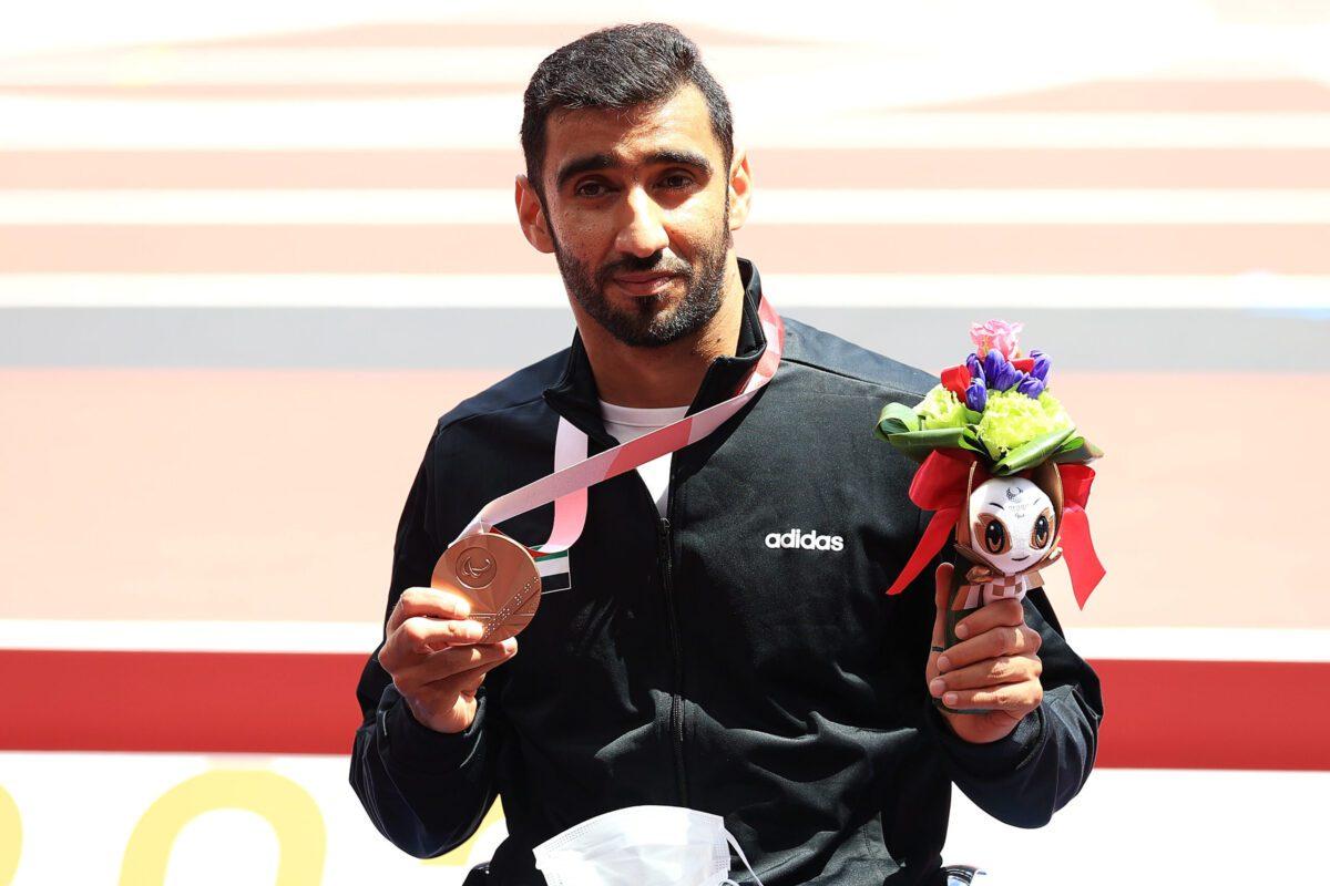 Bronze medalist Mohamed Alhammadi of Team United Arab Emirates on August 30, 2021 in Tokyo, Japan [Carmen Mandato/Getty Images]