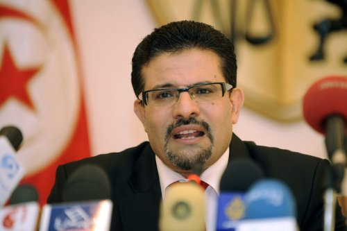 Tunisian Foreign Minister Rafik Abdessalem speaks with journalists during a press conference on 8 August 2012 in Tunis [FETHI BELAID/AFP/GettyImage]